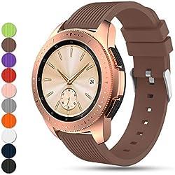 """Feskio Accessoire réglable en Silicone Souple de Remplacement Montre Bracelet Sangle Band Bracelet pour Samsung Galaxy Watch (42mm) Smartwatch, café, 5.51""""-8.46"""""""