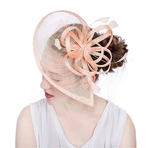 Fengbingl-ac Damen Feder Haarspange Hut Hochzeit Haarschmuck (Champagner) Kentucky Derby-Teeparty-Kopfbedeckung