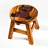 Robuster Kinderhocker/Kinderstuhl massiv aus Holz mit Tiermotiv Teddy, Bär, 25 cm Sitzhöhe