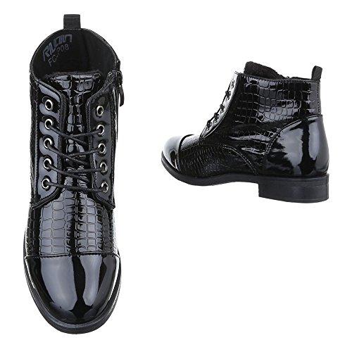 Ital-design Stringate Stivali Da Donna Scarpe Da Combattimento Blocchi Tacco Stivaletti Con Cerniera Leggermente Imbottiti Neri