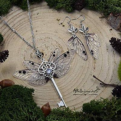 Fée des Enchantements parure ou boucles d'oreilles ou collier ailes de fée clé féerique Melledenevers