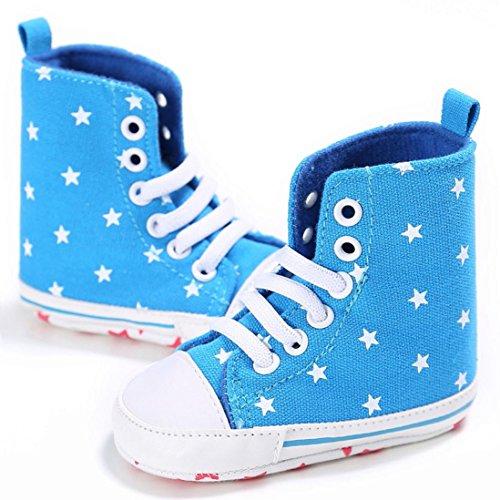 BZLine® Baby Komfort Schuhe Leinwand High-Tops Soft prewalker Anti-Slip Schuhe Sneaker Hellblau