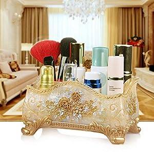 JINSH HOME Cosmetici Scatola di immagazzinaggio Scaffale Desktop Grande coreano Jewelry Box Cura della pelle Rossetto Titolare di gioielli Europeo Semplice roma rosa perla giallo