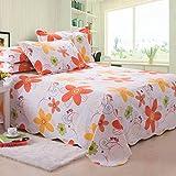 WYQLZ Orange Blumenmuster Hochwertige Baumwollbettwäsche Coarse Cloth 1.5 / 1.8 / 2.0m Einzelbett...