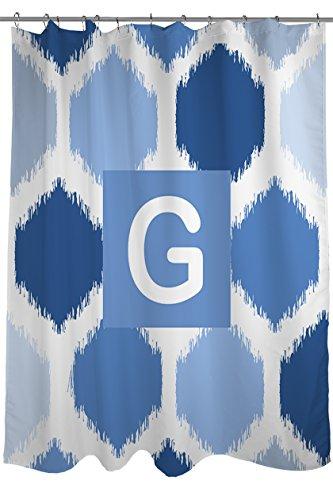 Manuelle holzverarbeiter & Weavers Vorhang für die Dusche, Monogramm Buchstabe G, Blau Batik -