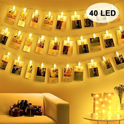 Amteker 40 Led Foto Clip Lichterketten für Zimmer - Lichterkette Bilder Lichterkette Foto, Lichterkette zum Bilder Aufhängen mit Klammern für Fotos, Innen, Haus, Hochzeit, Schlafzimmer - Foto Haus
