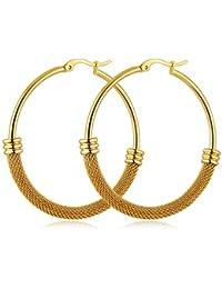 9ct Yellow Gold 46mm Classic Twisted Hoop Earrings 2WqTYl