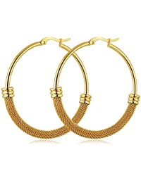 9ct Yellow Gold 46mm Classic Twisted Hoop Earrings