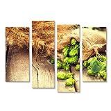 islandburner Bild Bilder auf Leinwand Hop in Tasche und Weizen Ohren auf hölzernen gebrochenen Alten Tisch. Bierbrauerei-Konzept. Zutat zu Wandbild, Poster, Leinwandbild JMO