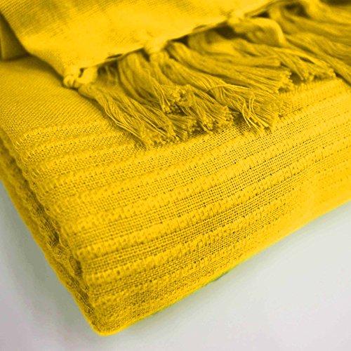Le Jardin des Cigales Lana Sessel-Überwurf, hat Fransen Baumwolle gewebt 150 x 150 cm, Baumwolle, gelb, 150x0.5x150 cm