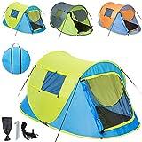 TecTake Wurfzelt Pop-up Zelt Automatikzelt für bis zu 2 Personen 1500mm Wassersäule + Tasche, Seile, Heringe - diverse Farben - (Blau-Gelb | Nr. 401673)