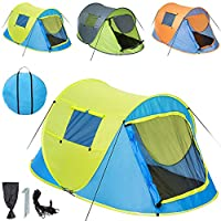 tectake 2 person pop up tent fast quick pitch camping instant + tent pegs, ropes and bag - different colours -