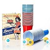 Lumaland Partybecher 50 Stück und 6 Beer Pong Bälle als Set 16 oz Beer Pong Trinkbecher extra stark rot und blau