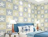 Loaest Amerikanisches Mittelmeer Star Wallpaper Fünfzackigen gestreifte Grüne Kindheit Zimmer Schlafzimmer Hintergrund 3D-Wand Tapete, Farbe 3, 1 Band