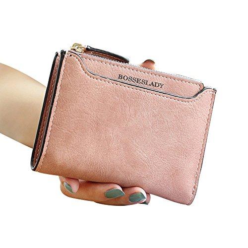 Woolala Donne Compatta Pu Portafoglio Di Pelle Bifold Contanti Carte Titolare Breve Borsa Con Staccabile Card Slot, Nero Pink