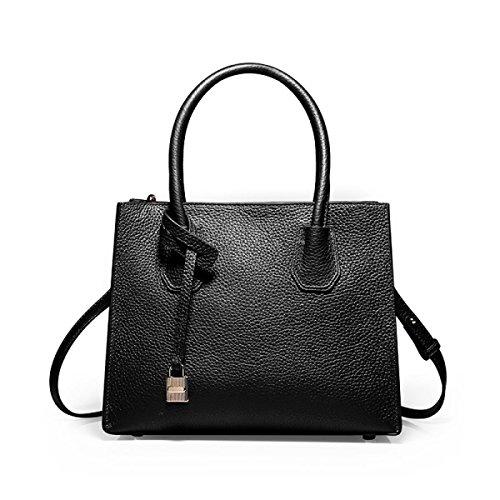 PACK Leder Handtaschen Tote Bag Lock Europa Und Die Vereinigten Staaten Einfache Handtasche Schulter Messenger Damen Taschen,D:Black D:Black