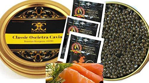 125 gr di caviale classico oscietra / ossetra e 300 gr di salmone scozzese affumicato. consegna gratuita