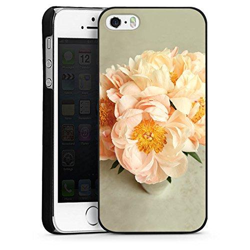 Apple iPhone 5s Housse Étui Protection Coque Fleurs Fleurs Jaune CasDur noir