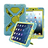 Pepk iPad 2nd / 3rd / 4th Generation Silicone Plastic Protective Dual Layer Shock Absorbing Kid-Proof Case Built in Stand Designed for the Apple iPad (iPad 2/3/4, Blue/Green)