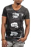 trueprodigy Casual Herren Marken T-Shirt mit Aufdruck, Oberteil cool und stylisch mit Rundhals Ausschnitt (Kurzarm & Slim Fit), Shirt für Männer Bedruckt Farbe: Schwarz 1073101-2999-L