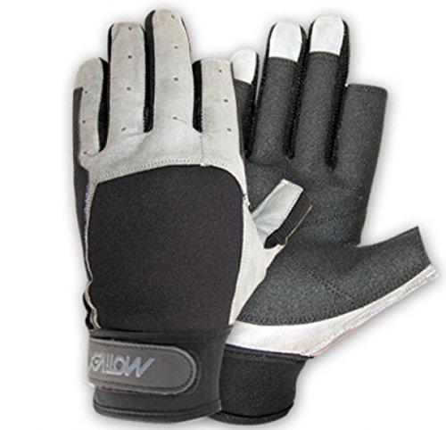 MOTIVEX Segelhandschuhe schwarz-grau Rückseite Neoprene 2 Finger kurz Grösse XXXL
