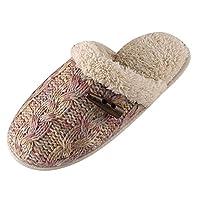 Yonglan Women Winter Warm Slippers Plush Slippers Indoor Floor Soft Slippers Indoor Anti-Slip Cotton-Padded Slipper Purple 35-36