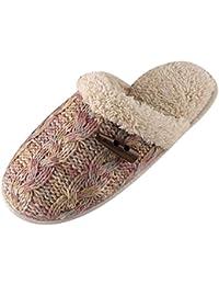 Yonglan Mujer Invierno Zapatillas de estar por casa de algodón Suave Zapatillas Antideslizante Zapatillas