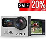Action Camera 4K, AIQIU 12MP WiFi Waterproof Underwater Video Camera Dual Screen 170Ã'° Wide Angle Sports DV Cam with Remote Control, 2 Rechargeable 1350mAh Batteries and 22 Mounting Accessories(Silv