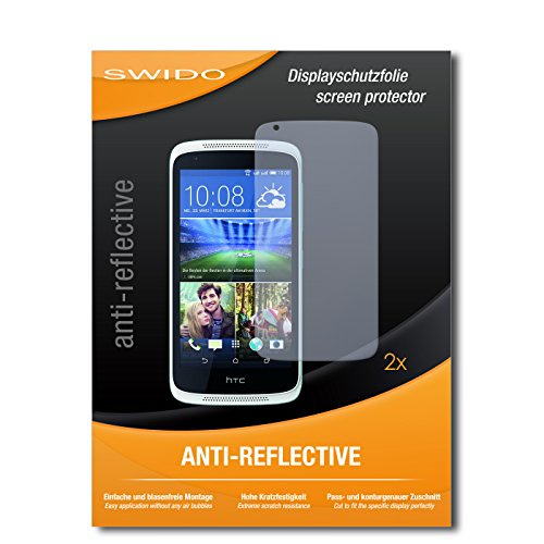 SWIDO Schutzfolie für HTC Desire 526G Dual SIM [2 Stück] Anti-Reflex MATT Entspiegelnd, Hoher Härtegrad, Schutz vor Kratzer/Bildschirmschutz, Bildschirmschutzfolie, Panzerglas-Folie