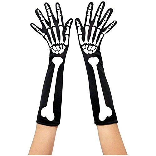 HENCY Halloween Skelett Handschuhe Fashing Handschuhe Schwarz Lang (Schwangere Kostüme)