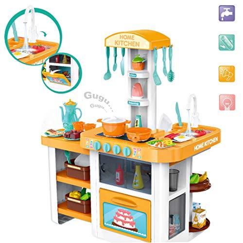 deAO Mi Pequeño Chef Cocinita de Juguete Grifo de Agua, Características de Luz y Sonidos, Conjunto Infantil de Cocina con Accesorios Incluidos