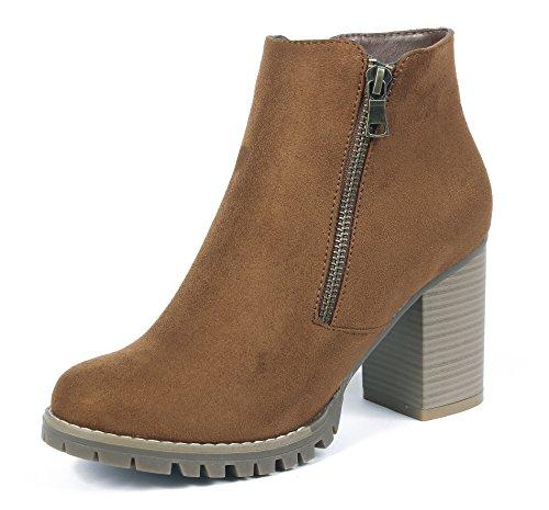 Ageemi shoes donna punta tonda chiusa tacco alto adulto stivaletti con cerniera,eux19 marrone 37