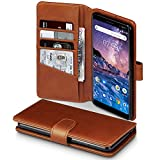 TERRAPIN, Kompatibel mit Nokia 7 Plus Hülle, [ECHT Leder] Brieftasche Case Tasche mit Standfunktion Kartenfächer und Bargeld - Cognac