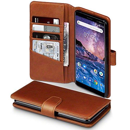 TERRAPIN, Kompatibel mit Nokia 7 Plus Hülle, [ECHT Leder] Brieftasche Case Tasche mit Standfunktion Kartenfächer & Bargeld - Cognac