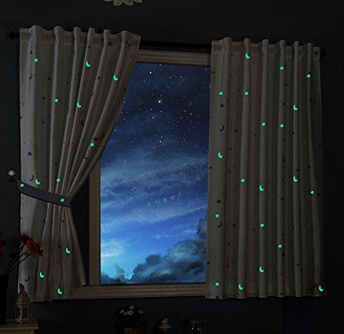 Schal Blickdicht Motiv Sterne Monde fluoreszierend Leuchtend Kinder Kids Schlaufenband Universalband Weiß 2 Stück 175x145 (Höhe x Breite cm), 20495 ()
