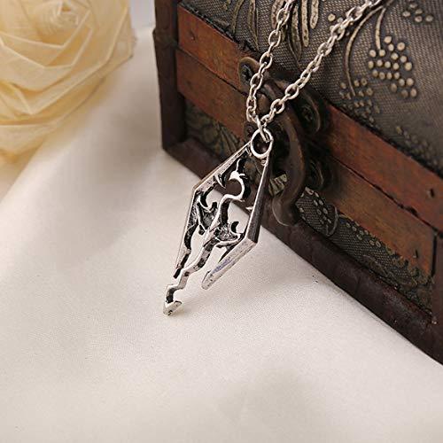 Dinosaurier-Drache-Anhänger Halskette Skyrim Elder Scrolls Drache Schmuck Weinlese-Halskette für Männer/Frauen Schmuck (Silber)