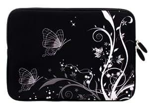 Wayzon Étui imperméable en néoprène 11,5 cm X 8 cm avec fermeture Éclair et blanc avec Papillon superbe Motif Creeper pour Fujitsu Stylistic Q550 3 g Tablet