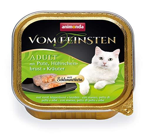 Animonda vom Feinsten Adult mit Schlemmerkern, Nassfutter für ausgewachsene Katzenvon 1-6 Jahren, mit Pute, Hühnchenbrust + Kräuter, 32er Pack (32 x 100 g)