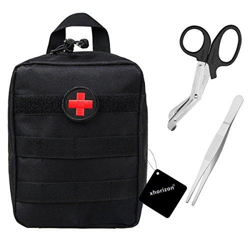 xhorizon TM Kompakte militärische taktische MOLLE EMT medizinische Erste Hilfe praktische Tasche - Gratis-Bonus Erste-Hilfe-Wappen, Schere & Pinzette