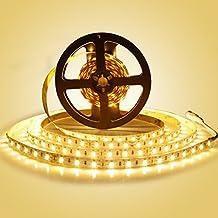LEDMO Tira de luz, Tira de luz LED, 2700K Blanco cálido SMD5630-300leds 25Lm/led 5 metros de largo, el doble de brillo, tiras de led interior,IP20 No-impermeable, de alto rendimiento de color, CRI80, proteger los ojos, para el hogar iluminación ambiental. (IP20 No-impermeable)