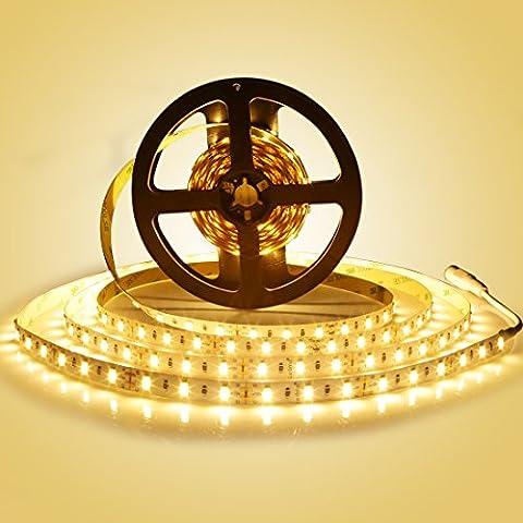 LEDMO® 5M LED Streifen Warmweiß 2700k,led stripes band lichtband 7500LM,led strip Leiste Licht led band Lauflichter SMD5630-300led led band DC12V(nicht inkl. Netzteil