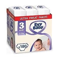 Evy Baby Bebek Bezi, Midi 3 Beden, 180 Adet