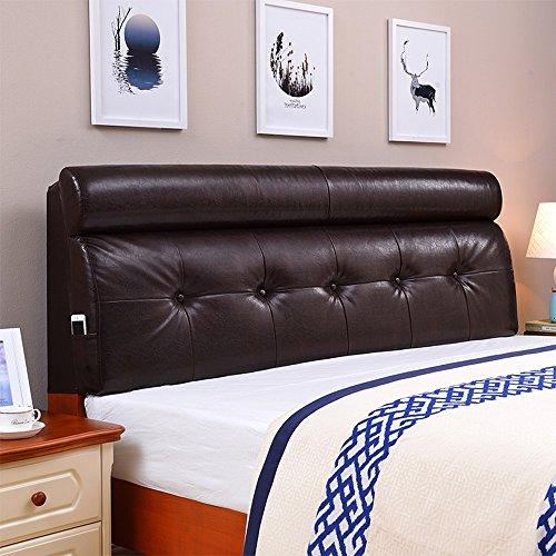 90 * 60cm, coussins en cuir artificiel, coussins de tête de lit de style européen, grand dossier doux (Couleur : Marron foncé)
