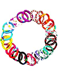 Premium Quality Nylon NEON Multi Color Printed Rubber Bands For Hair/Pony Tail Holder/Hair Ties/Elastic Hair Bands...