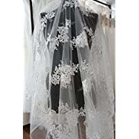 K5 Marfil Floral vestido de novia/boda bordado lentejuelas flor encaje tela festoneado recortado 140 de ancho, plata, Sample 5cmx5cm