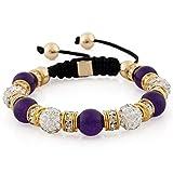 Morella® Damen Armband Steinperlen und Zirkonia Strass verstellbar gold - lila