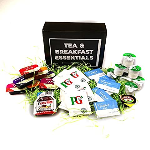 Tea and Breakfast Essentials One Week Box – PG Tips Tea Sachets, Semi Skimmed Milk, Assorted Jams, Marmite Sachets, Nutella Sachet & Sugar – Great for Holidays, Festivals, Camping - By Moreton Gifts