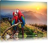 Papageien Pärchen Format: 120x80 auf Leinwand, XXL riesige Bilder fertig gerahmt mit Keilrahmen, Kunstdruck auf Wandbild mit Rahmen, günstiger als Gemälde oder Ölbild, kein Poster oder Plakat