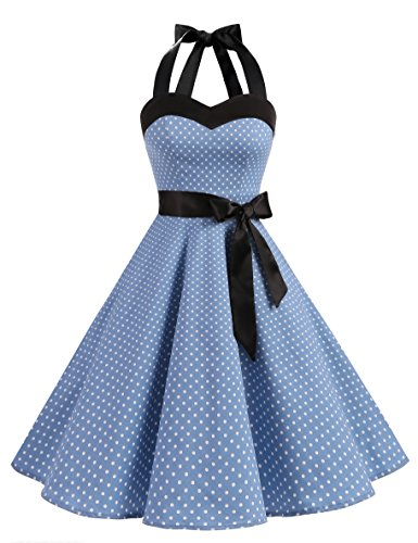 Dresstells Neckholder Rockabilly 1950er Polka Dots Punkte Vintage Retro Cocktailkleid Petticoat Faltenrock Blue Small White Dot L