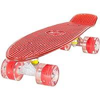 LAND SURFER® Skateboard Cruiser Retro Completo 56cm con tabla coloreada transparente - cojinetes ABEC-7 - Ruedas que se iluminan 59mm PU + bolsa para el transporte - Tabla Roja Transparente/Ruedas Rojas LED